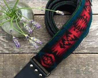 Rustic Pendleton Wool Leather Guitar Strap // Rosebud Originals