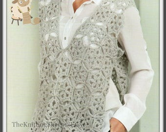 "PDF Crochet Pattern for Pretty Crochet Motif Summer Jacket/Top/Holiday Cover - 32""-48"" Busts"