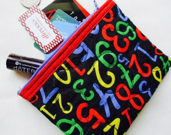 Quilted Numbers Flat Pouch - Teacher Gift Coin Pouch - Child Quilted Coin Purse