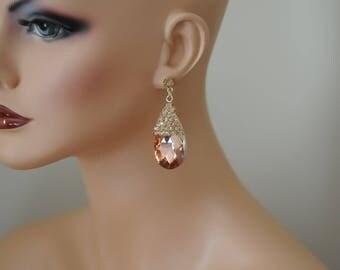 Dangle Earrings, Golden Topaz Earrings, Crystal Teardrop Earrings, Crystallized Earrings, Gift for her, Birthday gift