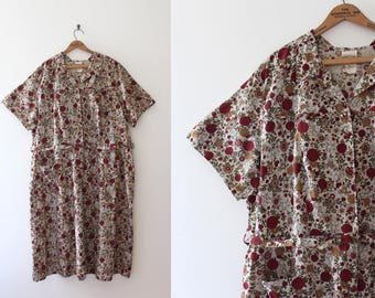 vintage 1950s dress // 40s cotton dress with belt in larger size 48 inch waist
