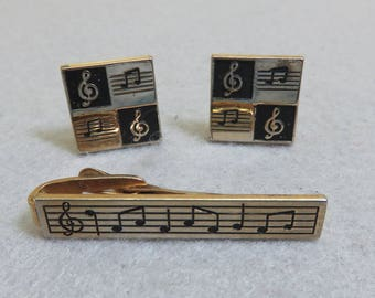 1980s Musical Notes Cuff Link and Tie Clip Set