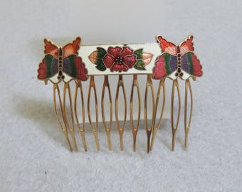 1980s White, Red Green Cloisonne' Butterfly Hair Comb