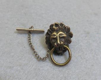 Lion Head Door Knocker Vintage Tie Tack, Lion Tack Pin, Antiqued Lion Tie Tack