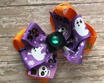 Halloween hair bow, girls Halloween hair bow, ghost and skull hair bow, purple hair bow, layered hair bow, non slip bow