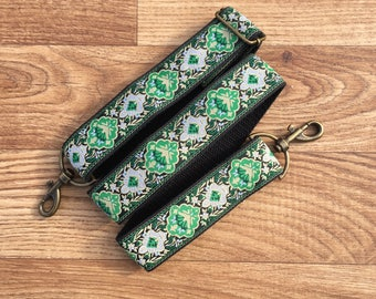 Guitar style bag strap  Handmade Adjustable Green baroque