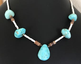 Native American Light Blue Turquoise Nugget and Natural Shell Heishi Necklace