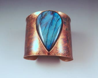Blue Labradorite Teardrop- True Blue- Rainbow Swirl Patina- Metal Statement Cuff Bracelet