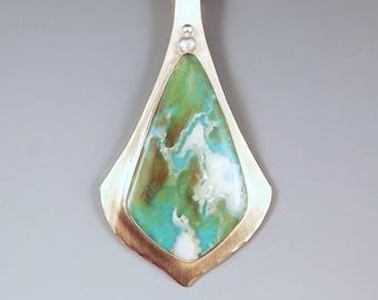 Regency Plume Agate & Turquoise- Tropical Getaway- Vacation Jewelry- Sand and Water- Mixed Metal- Plume Agate Necklace