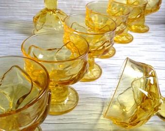 8 Vintage Franciscan Cabaret Cornsilk, Yellow, Glass Champagne, Sherbet, Glasses. Goblet. Mid century modern, Danish Modern, Eames era.