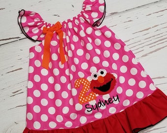 ELMO Birthday Dress / Personalized / Pink Polka Dots + Red / 123 Sesame Street / Big Bird / Newborn / Infant / Baby / Girl / Toddler