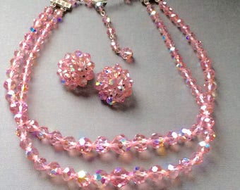 Vintage Laguna Demi Parure Pink Crystal Choker and Clip Earrings  / Necklace and Earring Set