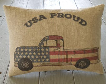 USA Proud Burlap Pillow, Vintage Flag Truck,  Patriotic, American, Fourth of July, INSERT INCLUDED