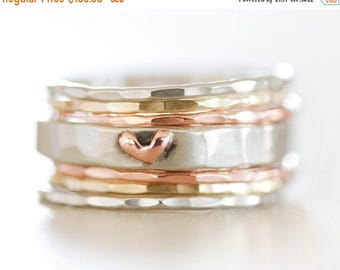 SUMMER SALE Stacking Rings / Stack Rings / Heart / Gift for Her / Girlfriend / Wife Gift / Anniversary Gift / Stacking Ring Set / Gold Stack