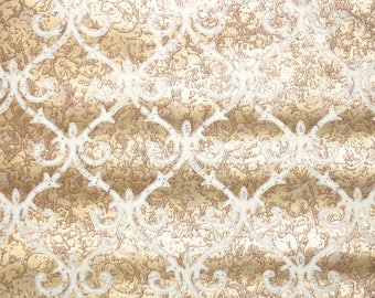 Retro Flock Wallpaper by the Yard 70s Vintage Flock Wallpaper - 1970s White and Gold Marble Background