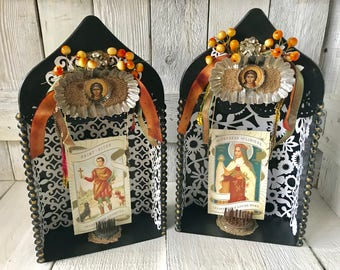 Small saint shrine embellished assemblage black metal/ changeable picture/ choose one/ free shipping US