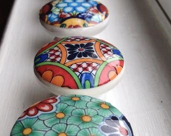 SUMMER SALE 14 decorated decoupaged wooden knobs