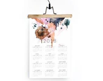 Wall Calendar 2018 / Geometric Watercolor Powder Pink and Navy Art / Modern Desk Calendar