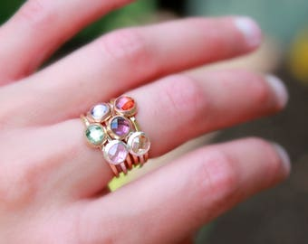 CHUNKY BIRTHSTONE RINGS! - Rose gold, gold and silver stacking birthstone rings - birthstone rings - mothers ring pink gold birthstone rings