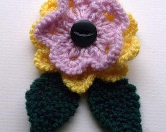 SALE. Hand knitted flower brooch pin. Aqua / turquoise and yellow