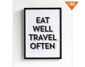Travel Print, poster, wall art print, typography quote, home decor, black and white, minimalist art, motivated