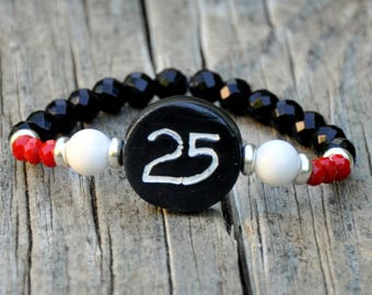 CUSTOM Sports Team & Number Beaded Bracelet