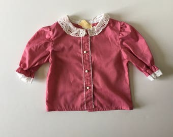 1980's Eyelet Lace Peter Pan Blouse (12/18 months)