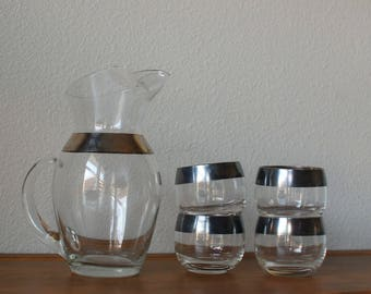Vintage Roly Poly barware glasses with a thin silver band with pitcher