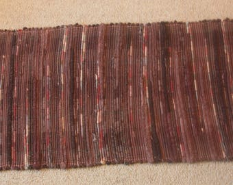 Handwoven Rag Rug - LONG Dark Browns variegated - 54 inches....(#170)