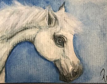 "White Horse ACEO Original 2.5"" x 3.5"" ""Cloud 9"""