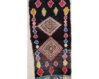 "280X150 cm 9'2"" x 4'11""         L28568  boucherouite , boucharouette,  moroccan rugs , berber rugs, morocco carpets"