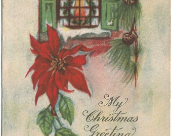 Bright Red Poinsettia with Classic Winter Window Scene with Christmas Wreath in Window  Vintage Postcard Christmas