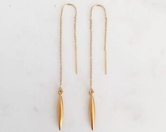 Gold Dangle Earrings - Threader Earrings - Gold Earrings