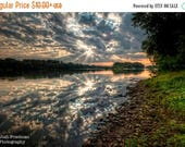 SALE 20% OFF Delaware River, Landscape Photograph, Morning Light, Clouds, Reflection, Shafts of Light, Sun, Yardley, Bucks County, Pennsylva