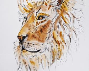 lion  dessin à l'encre, animaux, fauves, nature ,  original signé