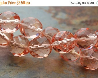ON SALE Czech Glass Beads, 8mm Fire Polished in Apricot -25