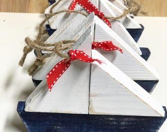Wooden Sailboat Ornaments