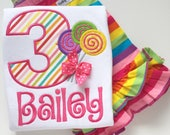 Candy Shop Birthday Shirt or bodysuit -- Candy Shop -- Candy Shop birthday shirt -- lollipop shirt in bright colors, choose birthday number