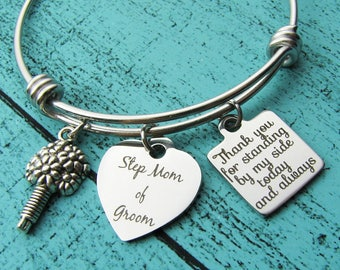 stepmother of the groom gift bracelet, Step Mom of groom gift, stepmother thank you gift, step mom wedding gift, thank you for standing by
