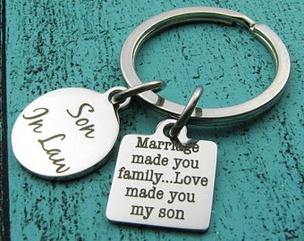 Son in law gift, wedding gift for Son in law keychain, marriage made you family, groom gift from Father Mother of bride, from parent in law