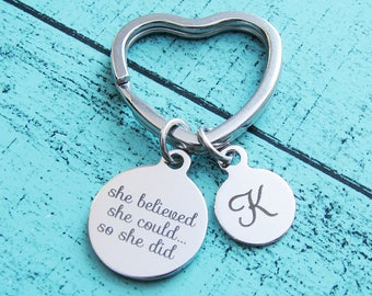 addiction recovery gift keychain, inspirational gift cancer survivor, she believed she could so she did graduation gift, NA AA sobriety gift