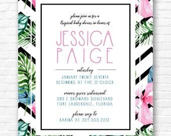 Chevron Floral Watercolor Shower Invitation