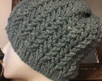 Textured Beanie in Slate Roof with Faux Fur Pom Pom