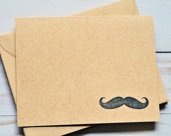 Mustache Note Cards // Set of 4 // Blank Cards // Thank You Card // Groomsman Cards // Kraft Card // Just Because // Thinking of You