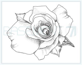 Rose Coloring Page - Printable Flower Adult Colouring Page of Original Hand Drawn Flower Drawing - Instant Download