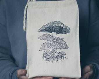 Toadstool Mushroom Screen Printed Recycled Cotton Canvas Reusable Lunch Bag