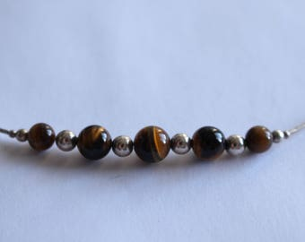 Sterling  Silver and Tiger Eye Bead  Necklace