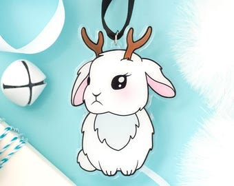 Jackalope Ornament - Rabbit Ornament Jackalope Gift Bunny Brooch Rabbit Gift Bunny Ornament Rabbit Decor Christmas Kitsch Bunny Lover Gift