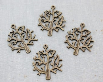VACATION SALE- Antique Bronze Winter Tree Pendant Charms 32mm