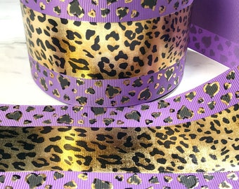 "3"" Cheetah Ribbon, Foil Ribbon, Cheetah Hearts, Grape Ribbon, US Designer Ribbon, Cheer Ribbon, Cheer Bows, Price Per Yard"